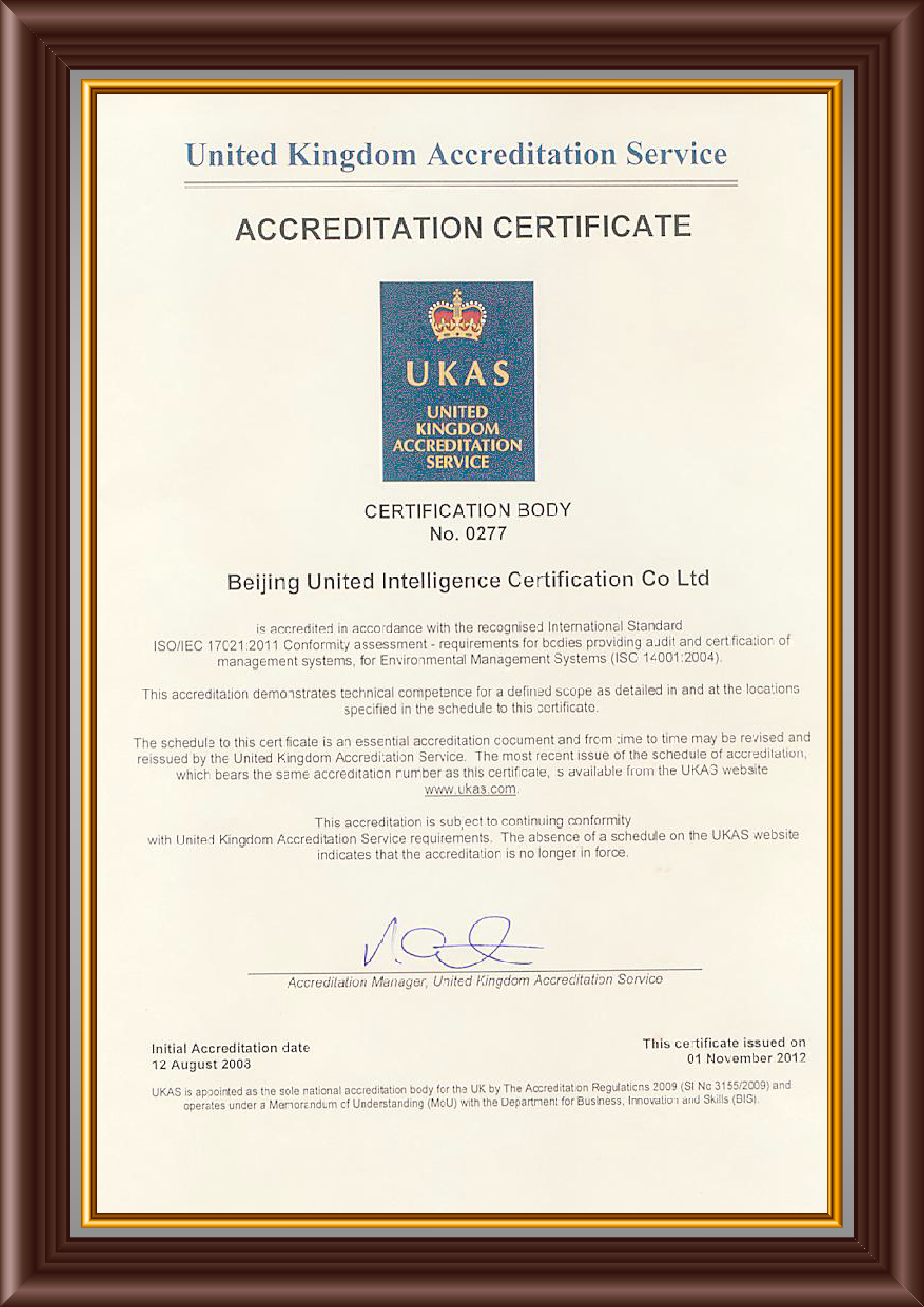UKAS Cer ISO14001